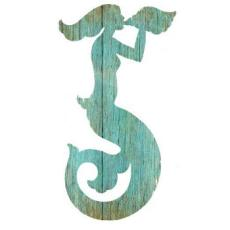 Mermaid Silhouette Facing Right Wall Art - Aqua