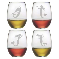 Mermaids Stemless Wine Glasses (Set Of 4)