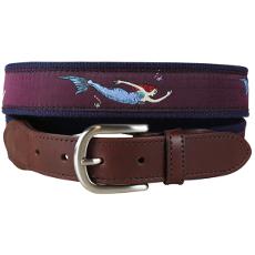 Vintage Mermaid Leather Tab Belt