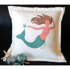 Mermaid Pillow, Handpainted Indoor/Outdoor