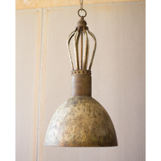 Metal Dome Pendant Light With Rustic Finish