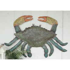 Hammered Recycled Metal Crab Wall Hanging