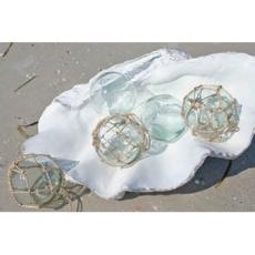 Recycled Glass Buoy Wrapped In Rope Set Of 3