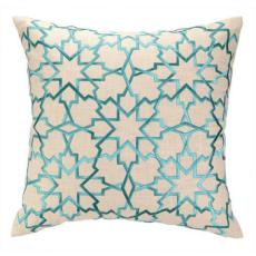 Moroccan Star Turquoise Embroidered Pillow