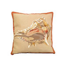 Murex Shell Needlepoint Pillow