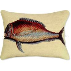 Mutton Fish Needlepoint Pillow
