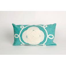 Ornamental Aqua Knot Oblong Pillow