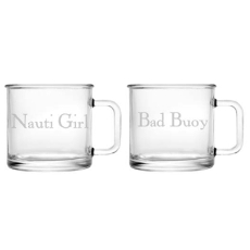 Nauti Girl Bad Buoy Camp Mug Glass Set Of 2