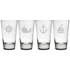 Nautical Icons Etched Hiball Glass Set