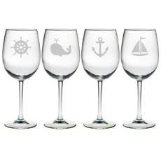 Nautical Icons Etched Wine Glass Mixed Set Of 4