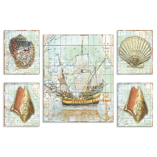 Nautical Journey Map 5 Pieceic Art  Graph Set