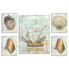 Nautical Journey Map 5 Pieceic Art  Graph Set