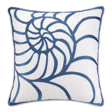 Nautilus Navy Embroidered Pillow