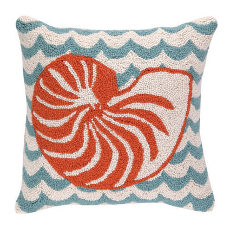 Nautilus in Waves Hooked Pillow