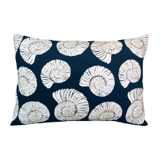 Beaded Nautilus Shell Lumbar Pillow