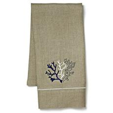 Navy Coral Natural Linen Guest Towel