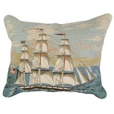 "Ship At Full Mast"" 16"" X 20"" Mixed-Stitch Pillow"