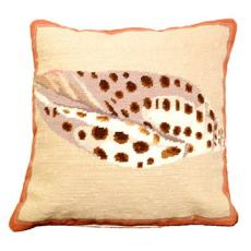 Volute Shell Needlepoint 100% Wool Thread Pillow
