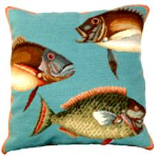 Saltwater Fish 2 Needlepoint Pillow