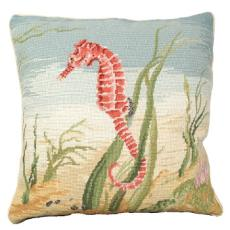 "Sea Horse 18"" X 18"" Needlepoint Pillow"