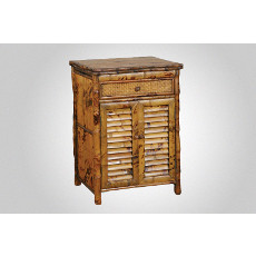 Coastal Rattan Louvered Nightstand