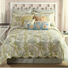 Ocean Botanical Coastal Bedding Quilt