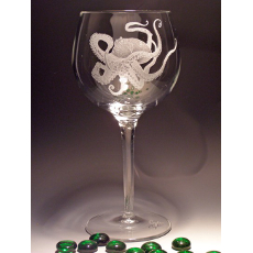 Octopus Crystal Wine Glass 18 Oz
