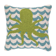 Octopus in Waves Hooked Pillow