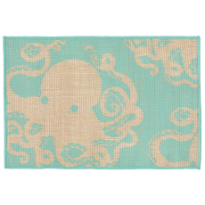 Octopus Turquoise Indoor Outdoor Rug