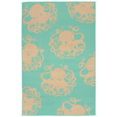 Terrace Octopus Turquoise Indoor Outdoor Rug