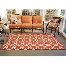 Orange Geo Hook Indoor Outdoor Rug