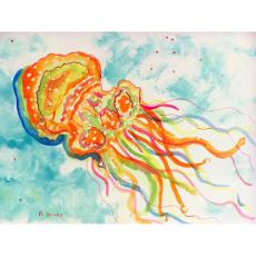 Orange Jellyfish Door Mat