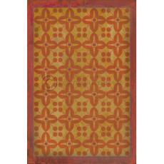 Orange on Yellow on Pink  Pattern Vinyl Floor Cloth