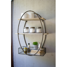 Tall Oval Wall Unit with Shelves