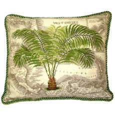 West Indies Palm Tree Needlepoint Pillow