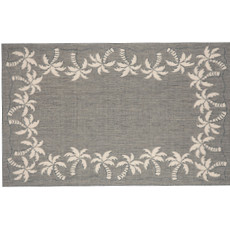 Palm Tree Border Silver Rug Indoor/ Outdoor Rug