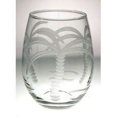 Palm Tree Stemless White Wine Tumbler 15oz set of 4