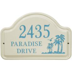 Palm Tree Ceramic Arched Address Plaque