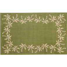 Palm Tree Border Green Rug Indoor/ Outdoor Rug