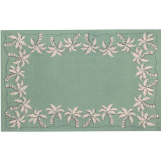 Palm Tree Border Aqua Rug Indoor/ Outdoor Rug