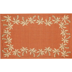 Palm Tree Border Terracotta Rug Indoor/ Outdoor Rug