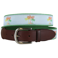 Palm Tree Leather Tab Belt
