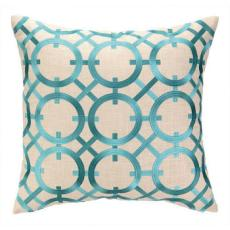 Parisian Lights Turquoise Embroidered Pillow