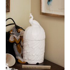 Feathered Peacock Ceramic Canister