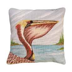 Pelican Profile Needlepoint Pillow
