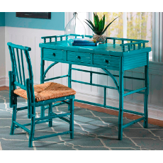 Coastal Rattan Petite Desk And Chair Set