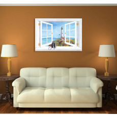 Pigeon Point Lighthouse Window Scene wall Art