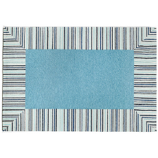 Pin Stripe Border Blue Rug Indoor Outdoor Rug