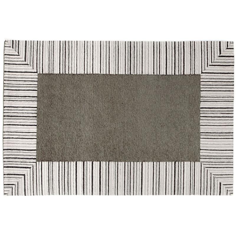 Pin Stripe Border Grey Rug Indoor Outdoor Rug