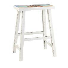 Beach Island Bar Stool White with Seat Painting Set of 2